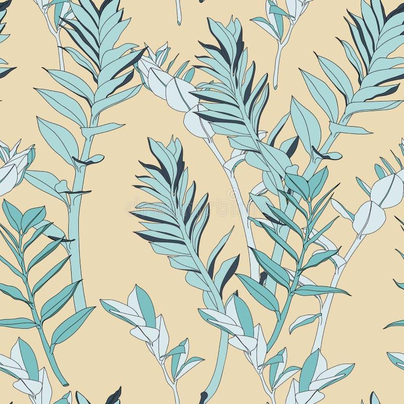 Цветочный узор абстрактных винтажных листьев состава красочных тропических безшовный иллюстрация вектора