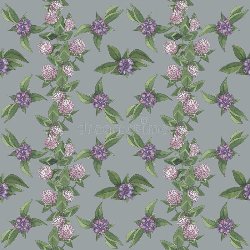 Цветочный узор с фиолетовыми цветками и клеверами стоковое фото
