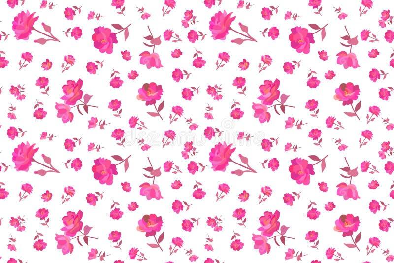 Цветочный узор Ditsy безшовный с небольшим и крошечным ярким пинком поднял цветками изолированными на белой предпосылке в векторе иллюстрация вектора