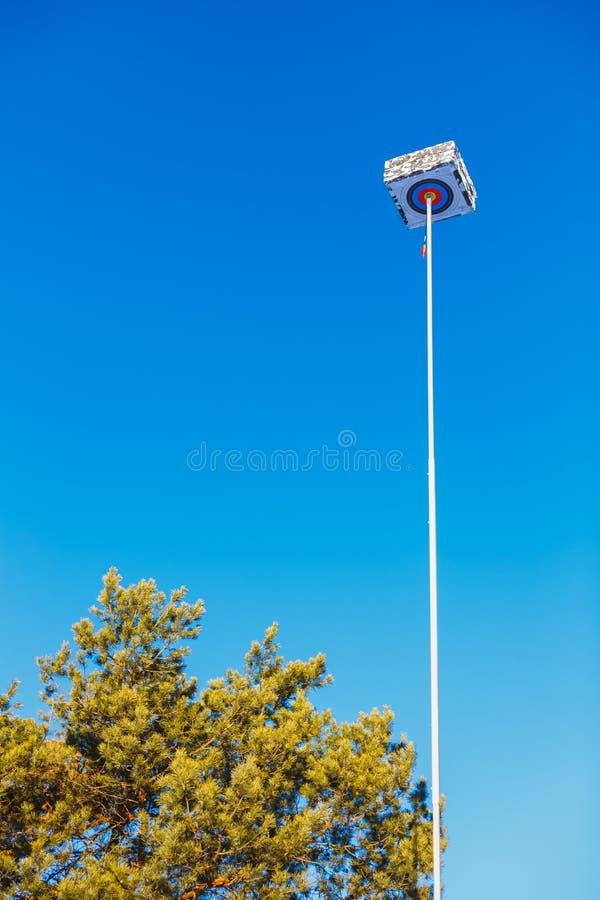 Цель Archery с выступающей стрелкой высокой в голубом небе стоковое изображение rf