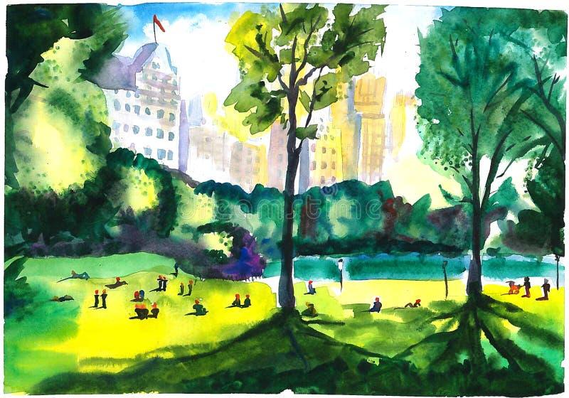 Центральный парк в солнечной погоде лета стоковые изображения rf