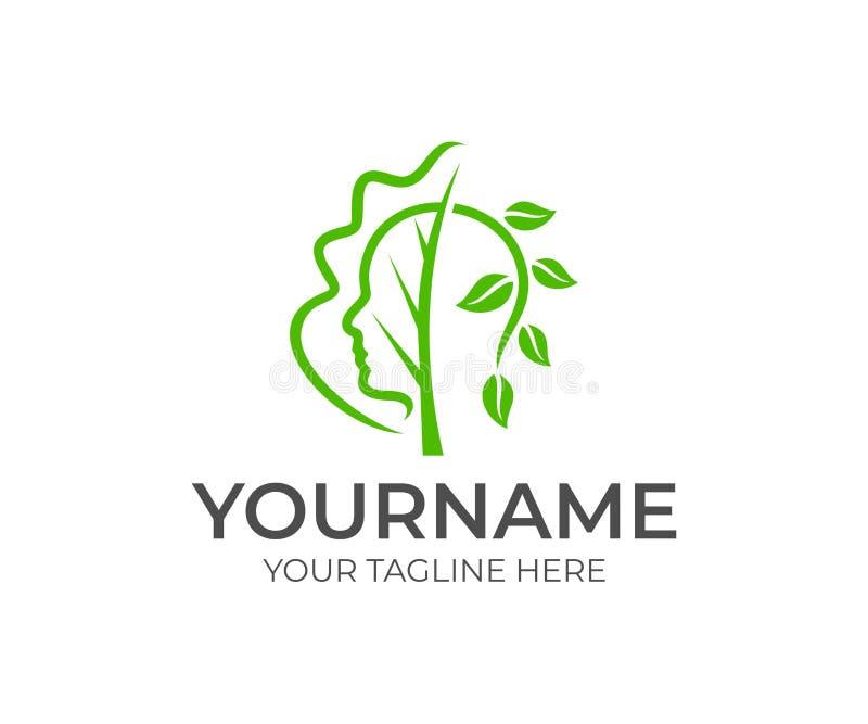 Центр здоровья, человеческое лицо, дерево и ветвь с листьями, дизайн логотипа Здоровье, здравоохранение и медицина, дизайн вектор бесплатная иллюстрация