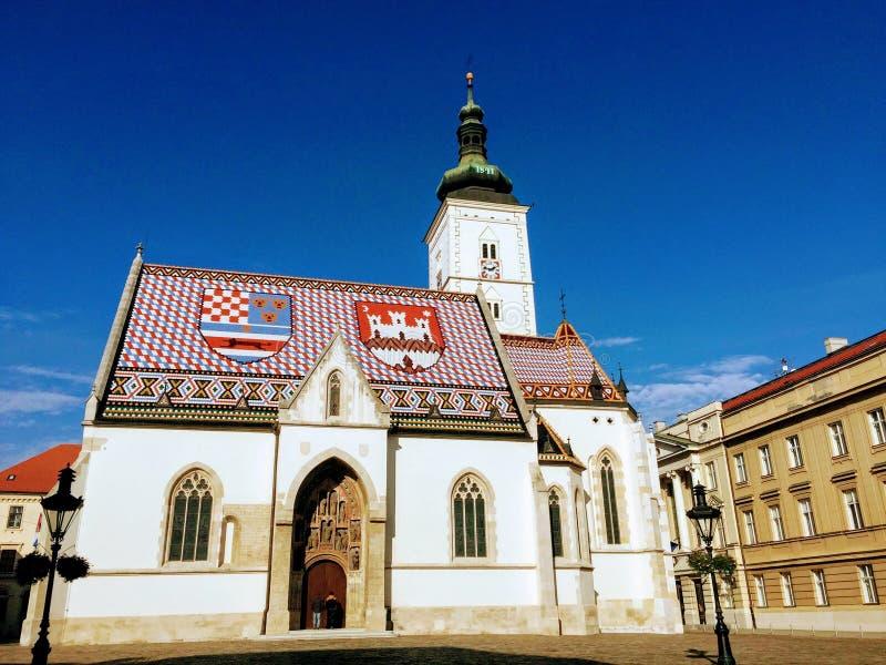 Церковь St Mark's, Загреб стоковое фото rf