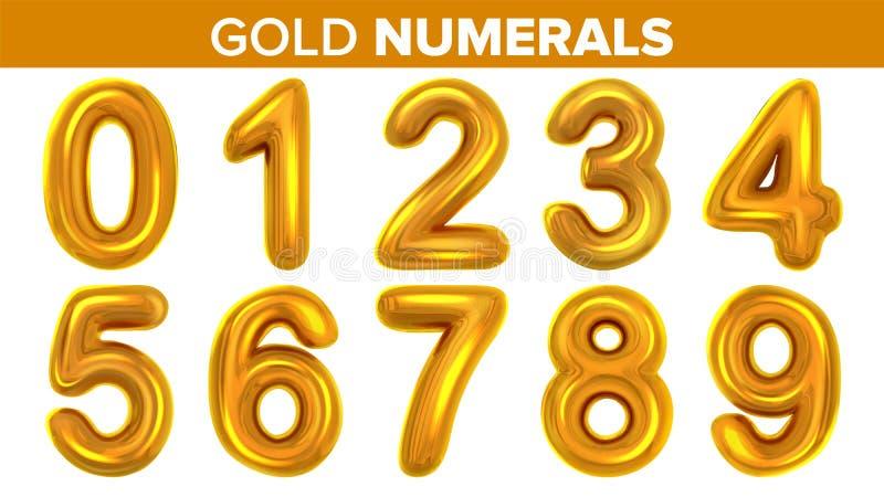 Цифры золота установили вектор Золотое письмо желтого металла 0 1 2 3 4 5 6 7 8 9 Шрифт алфавита Дизайн оформления иллюстрация вектора