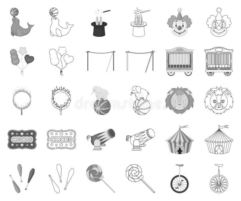 Цирк и атрибуты monochrome, значки плана в установленном собрании для дизайна Сеть запаса символа вектора искусства цирка иллюстрация вектора