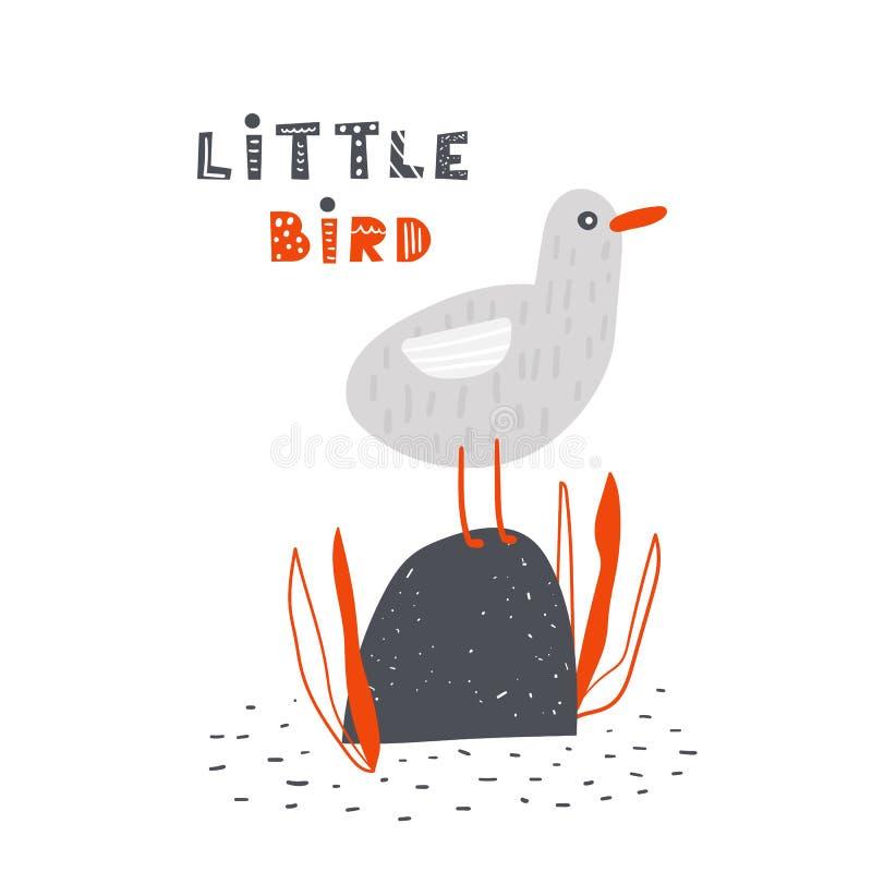 Чайка сидя на камне в море Милый плакат, карта, открытка с птицей бесплатная иллюстрация