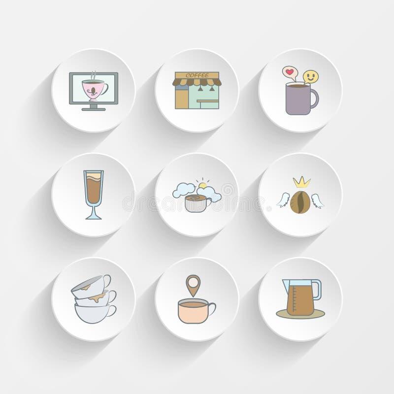 чашка кофе в мониторе, стойл кофе, славный разговор для кофе и холодные значки доставки кофе coffeehigh-скорости на плите иллюстрация штока
