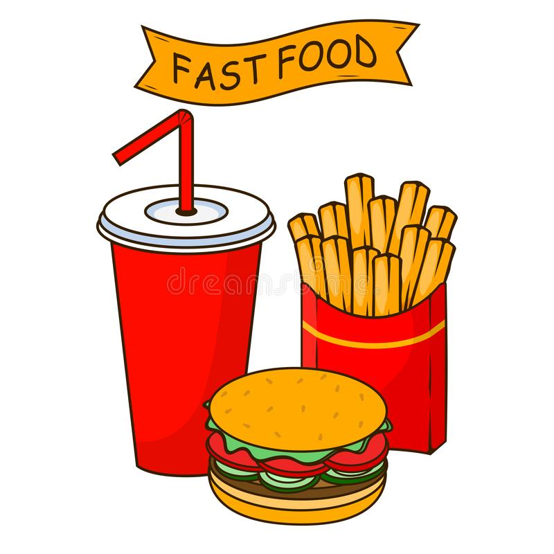 Чашка соды с соломой французский картофель фри, зажаренные картошки в коробке бумаги, гамбургере, бургере изолированном на белой  бесплатная иллюстрация