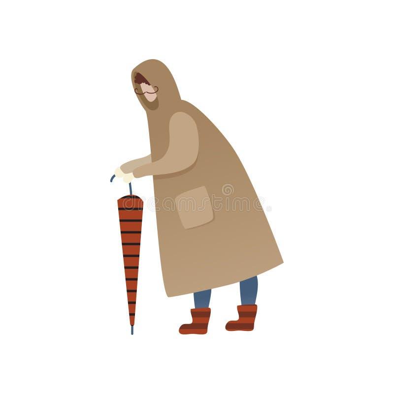 Человек в положении плаща с закрытым зонтиком Персонаж из мультфильма с усиком в одежде осени вектор конструкции ультрамодный иллюстрация штока