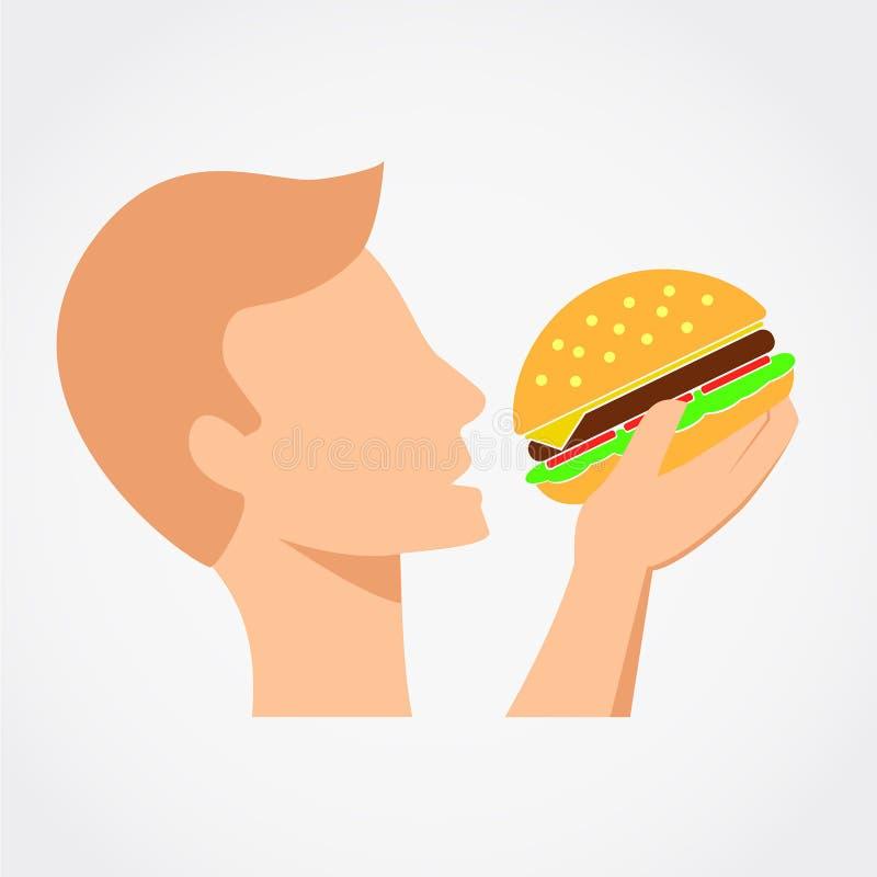 Человек ест бургер бесплатная иллюстрация