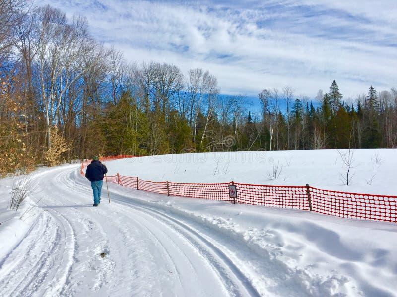 Человек идя на след маркированного снега мобильный вдоль загородки снега с идя ручкой стоковое изображение rf