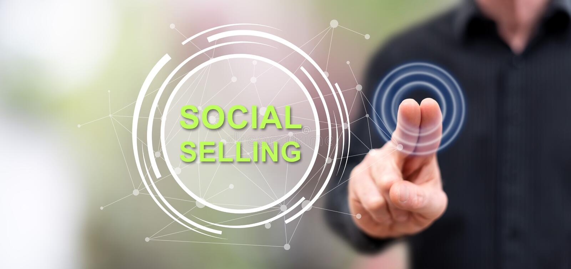 Человек касаясь социальной продавая концепции иллюстрация вектора