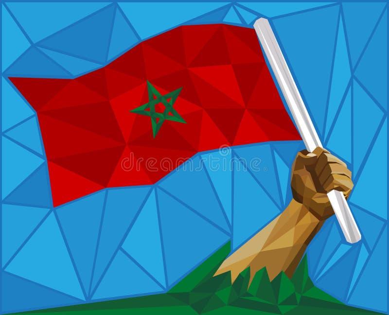 Человек поднимая национальный флаг Марокко бесплатная иллюстрация