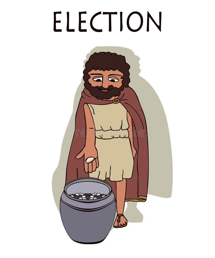 Человек древнегреческого голосуя путем устанавливать камешки в урне иллюстрация штока