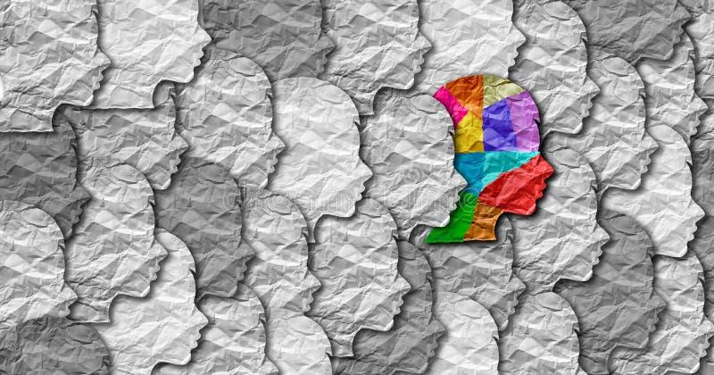 Человек синдрома аутизма иллюстрация вектора