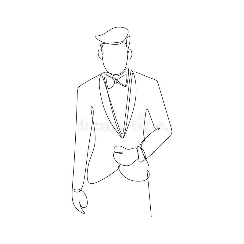 Человек с линией чертежом платья костюма непрерывной искусства известной концепции успеха представления положения бизнесмена иллюстрация штока