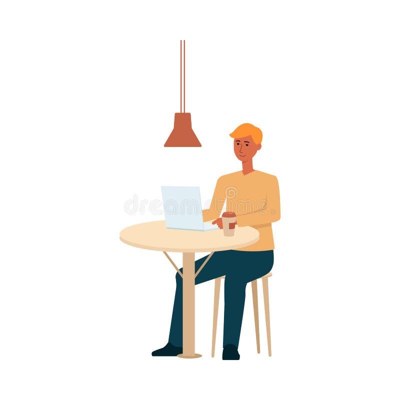 Человек с ноутбуком и кофе сидя на стиле мультфильма таблицы иллюстрация вектора