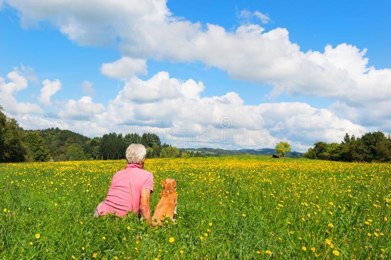 Человек с собакой сидя в ландшафте стоковые фото