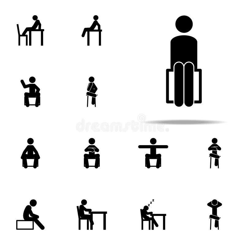 человек, усаживание, значок стула Усаживание человека на наборе значков всеобщем для сети и черни иллюстрация штока