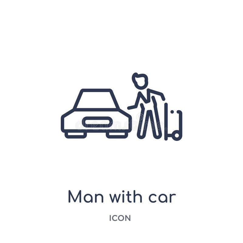 человек со значком автомобиля и чемодана от собрания плана людей Тонкая линия человек со значком автомобиля и чемодана изолирован иллюстрация вектора