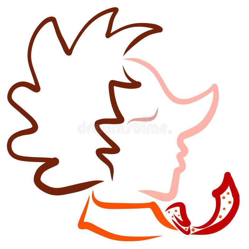 Человек со смешными стрижкой и связью, профилем иллюстрация вектора