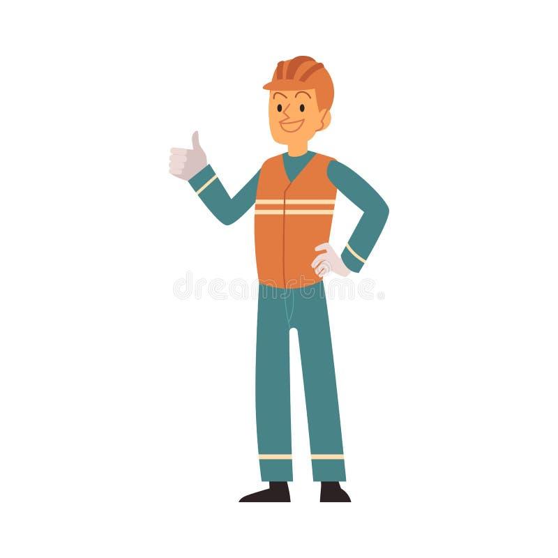 Человек отброса в оранжевом и голубом workwear сортирует и собирает хлам иллюстрация вектора