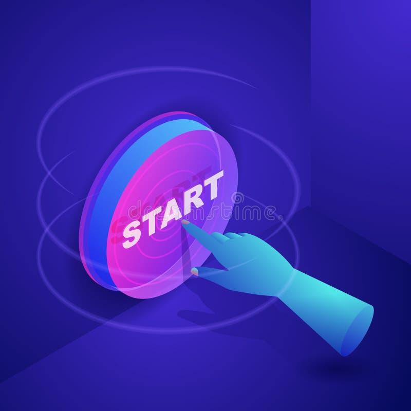 Человеческая кнопка начала прессы руки Концепция запуска дела Иллюстрация градиентов 3d вектора неоновая равновеликая иллюстрация штока