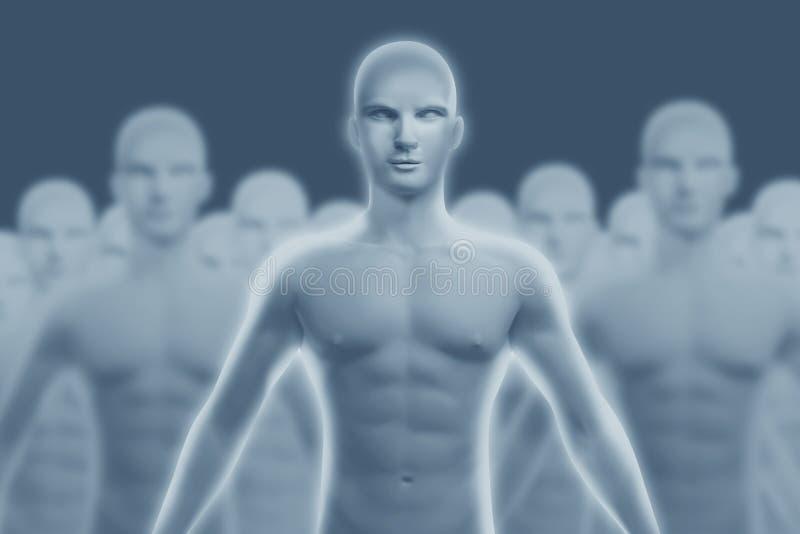Человеческая диаграмма которая стоит вне от других иллюстрация вектора