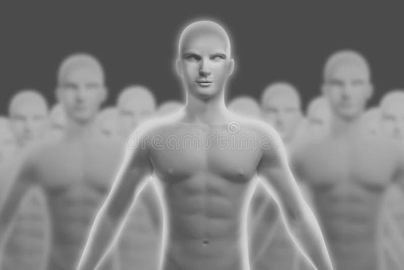 Человеческая диаграмма которая стоит вне от других иллюстрация штока