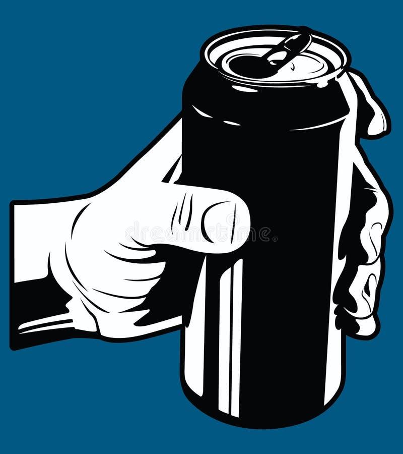 Человеческая рука держа иллюстрацию вектора консервной банки соды черно-белую бесплатная иллюстрация