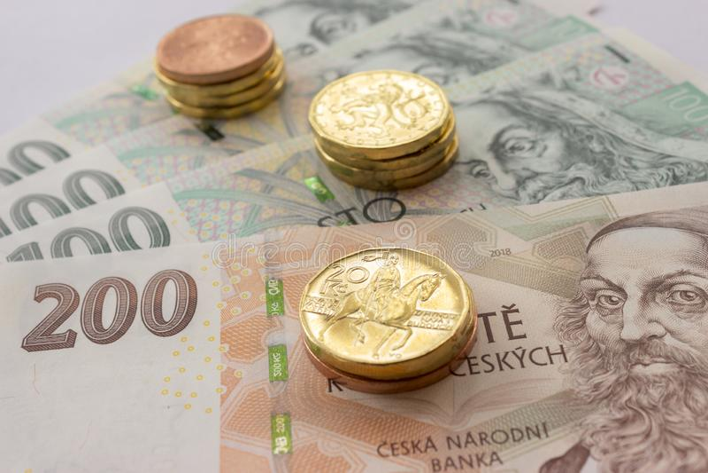 Чехословакские монетки и банкноты денег стоковые изображения