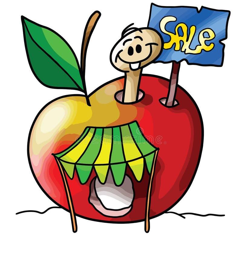 Червь яблока мультфильма делает вектор распродажи старых вещей иллюстрация штока