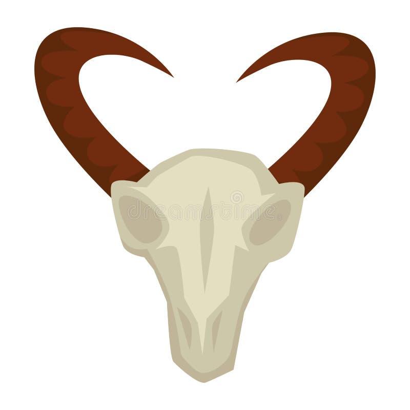 Череп козы со звероловством людей каменного века рожков примитивным иллюстрация штока