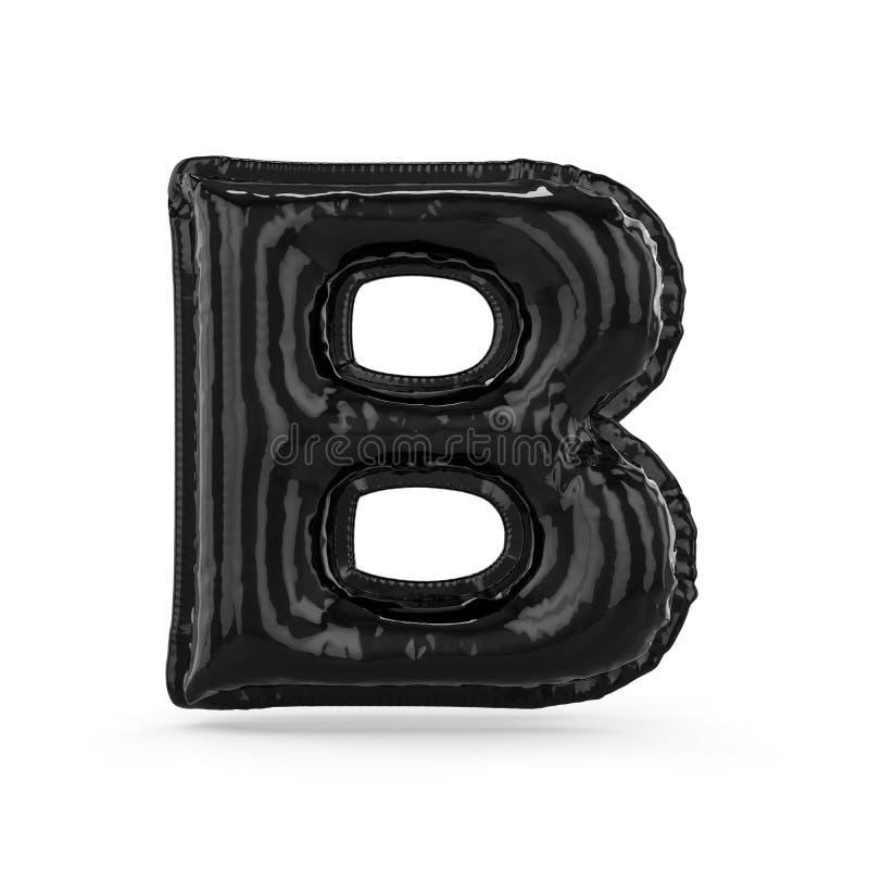 Черная буква b сделала из раздувного изолированного воздушного шара 3d иллюстрация штока