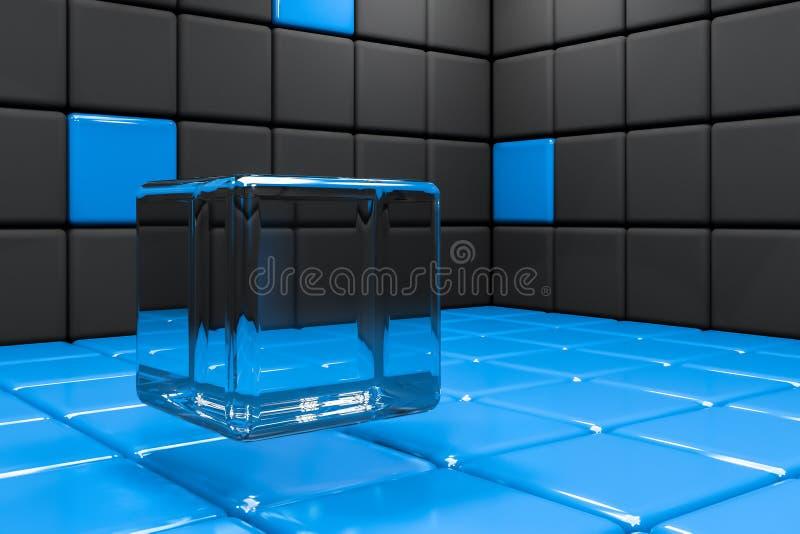 Черная и голубая предпосылка плитки со стеклянным кубом иллюстрация вектора