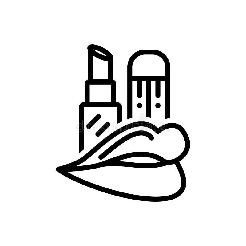 Черная линия значок для губной помады, макияжа и лоска иллюстрация штока