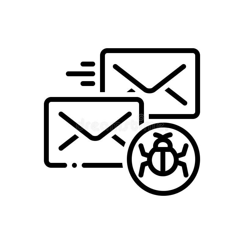 Черная линия значок для зараженных почты, защиты и безопасности иллюстрация штока
