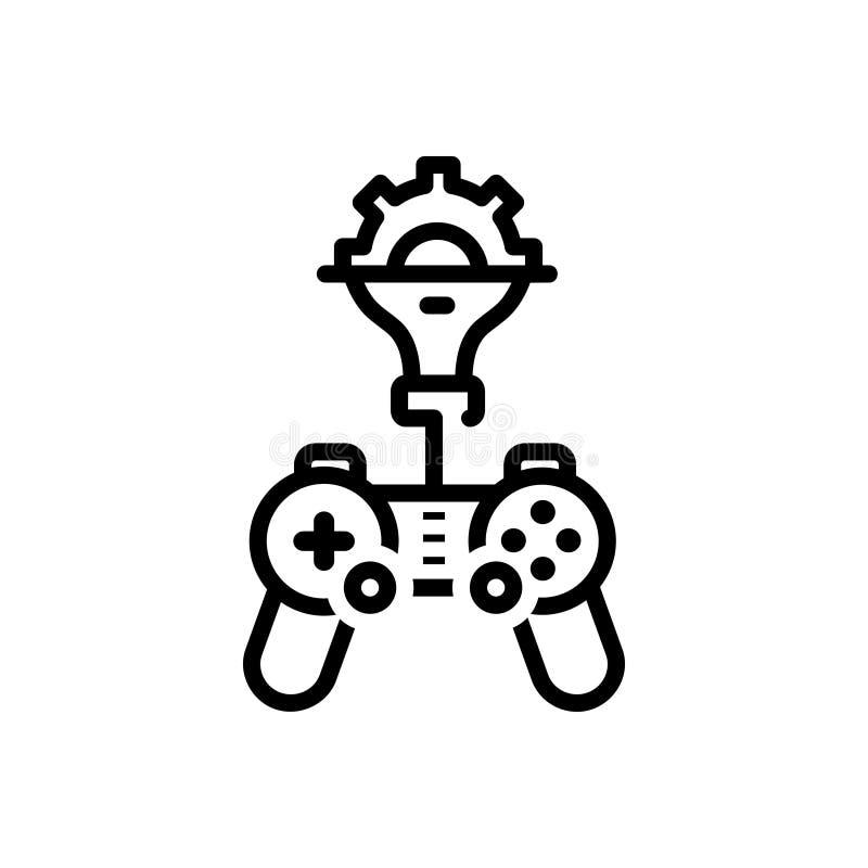 Черная линия значок для игры, превращаться и спорта иллюстрация штока