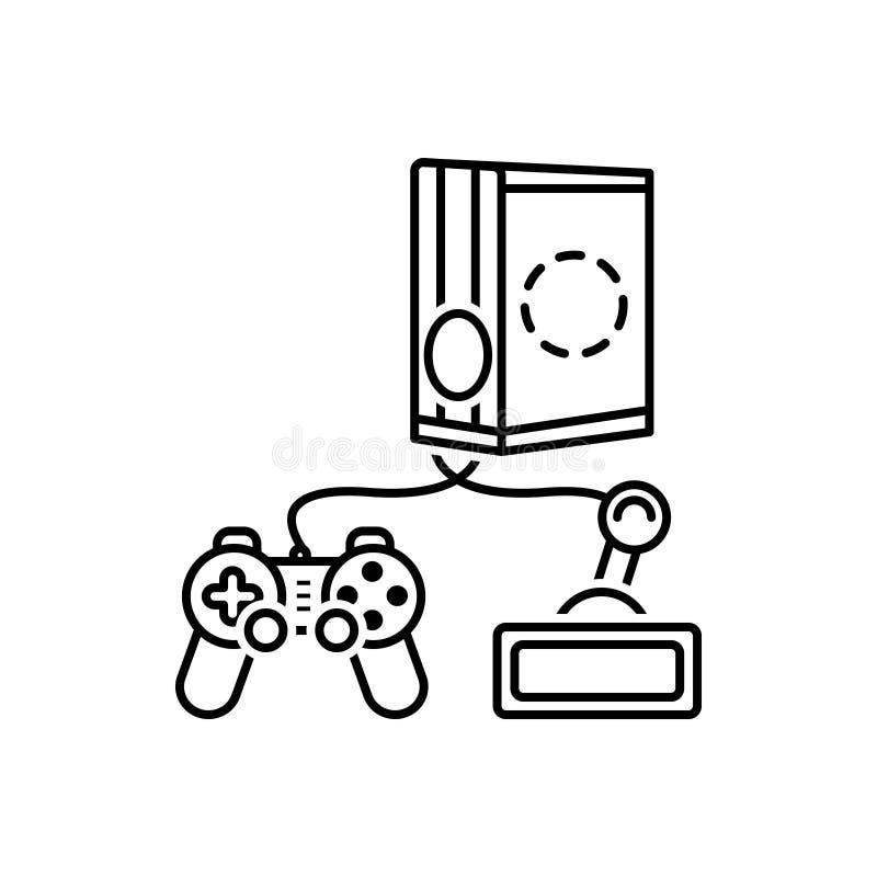 Черная линия значок для игр, консоли и playstation иллюстрация вектора