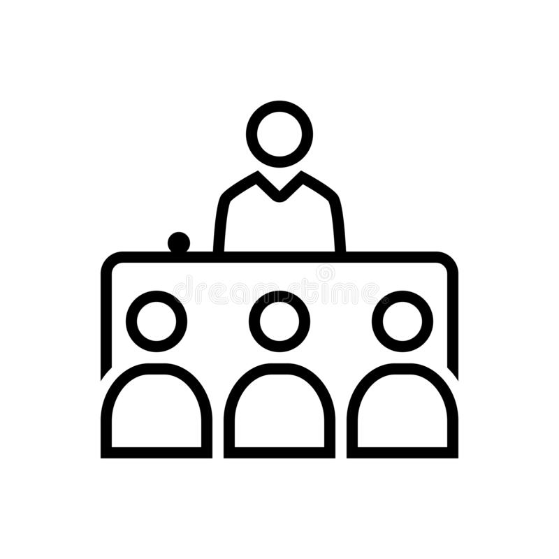 Черная линия значок для интервью, представления и политического иллюстрация вектора