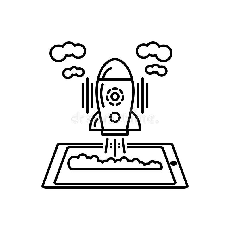 Черная линия значок для космического корабля, начала и развитие бесплатная иллюстрация