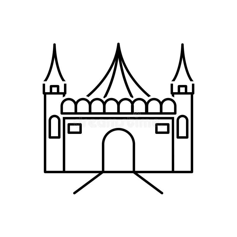 Черная линия значок для парка атракционов, ярмарки и масленицы иллюстрация штока