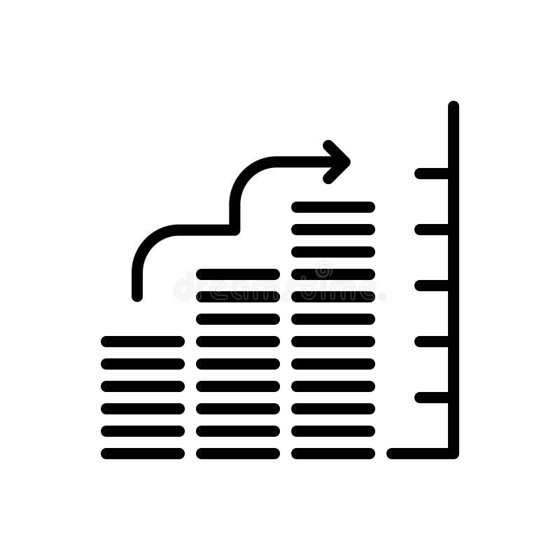 Черная линия значок для диаграммы в виде вертикальных полос, диаграммы и пирога иллюстрация штока
