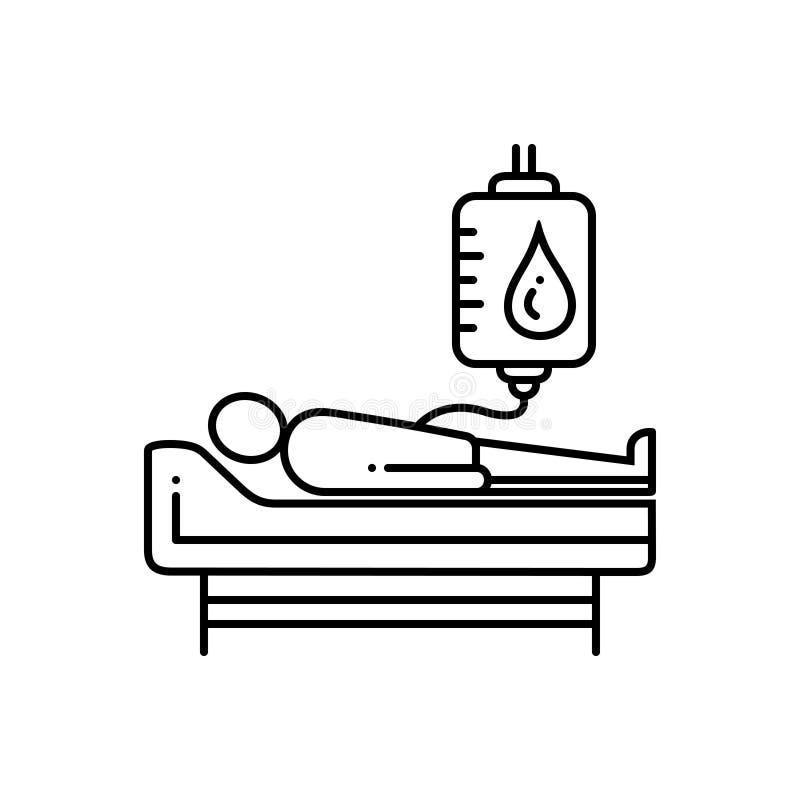 Черная линия значок для донорства крови, сумки и дарителя иллюстрация штока