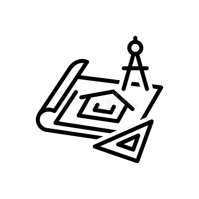 Черная линия значок для светокопий, архитектора и реновации иллюстрация вектора
