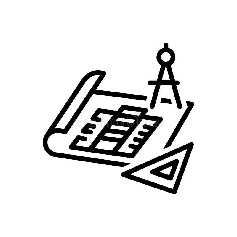 Черная линия значок для светокопий, архитектора и реновации бесплатная иллюстрация
