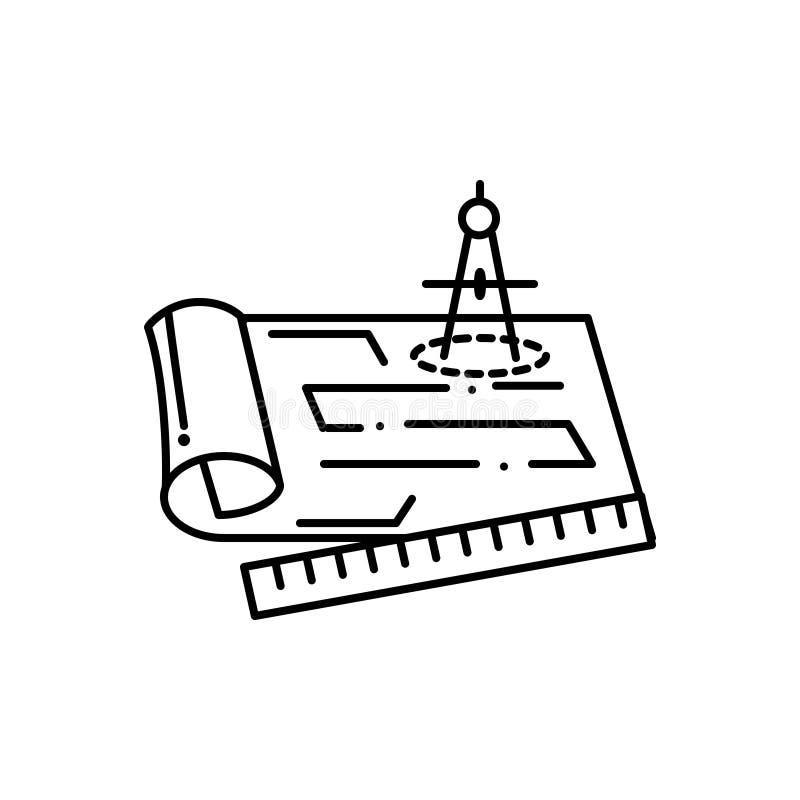 Черная линия значок для светокопий, конструкции и измерений иллюстрация штока