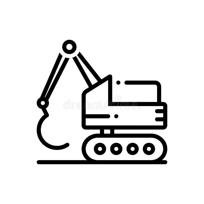 Черная линия значок для экскаватора, конструкции и бульдозера иллюстрация вектора