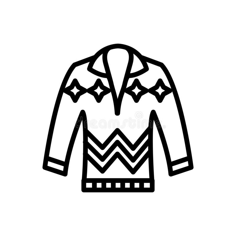 Черная линия значок для Pullove, свитера и прыгуна иллюстрация вектора