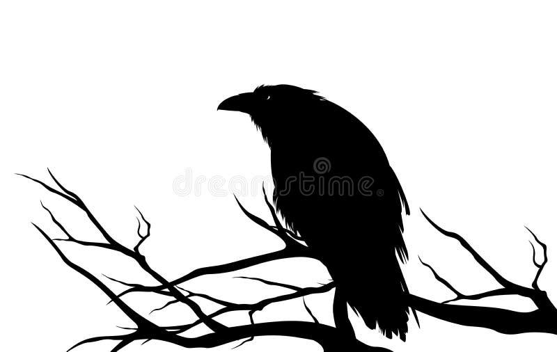 Черная птица ворона на обнаженном силуэте вектора дерева бесплатная иллюстрация